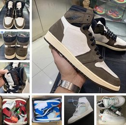 Chaussures de basket marron en Ligne-Travis Scott Mens Basketball Chaussures Sneakers 1 1s Suede Brown Men Boy Athentic sport de Formateurs Designer Chaussures de course avec la boîte