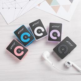 Lettore mp3 specchio online-Lettore portatile Mini MP3 + usb cable + earphone supporto chiave di 8GB TF Specchio C senza carta dello schermo con cavo USB Student regalo MP3 Player intere vendita