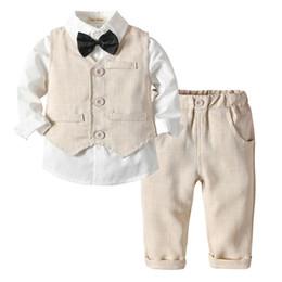 Trajes de chaleco para niños online-2019 New Spring Infant Boys Trajes Blazers Trajes Ropa Chaleco Camisa Pantalones 3 unids boda Formal Party Plaid Baby Kids Boy abrigos