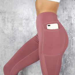 Operando celular on-line-Leggings das mulheres de Cintura Alta Celular Painel de Malha de Bolso De Compressão Elástico Treino de Yoga calças de Corrida Capri Apertado