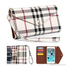 Canada Pour Iphone XS MAX XR X 6S 7 8 Plus portefeuille pu Flip cuir housse de téléphone portable sac pochette sac à main avec lanière grille grille marque mode de luxe Offre