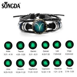 bracelet vierge Promotion SONGDA 12 Constellations Bracelet Lumineux Hommes En Cuir Leo Virgo Balance Tissé Dôme De Verre Bijoux Punk Bracelets Meilleur Ami Cadeaux