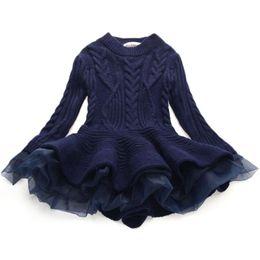 roupas grossistas por atacado para crianças Desconto Moda Outono Inverno Meninas Camisola De Malha De Lã Do Bebê Vestido Da Menina Meninas Princesa Organza Vestidos de Lã Roupas de Bebê Menina