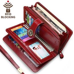 f6b9f3fdc3a63 Frauen Lange Brieftasche Aus Echtem Leder Frauen Geldbörse Kartenhalter  Brieftaschen Große Kapazität mit Reißverschluss Geld Tasche