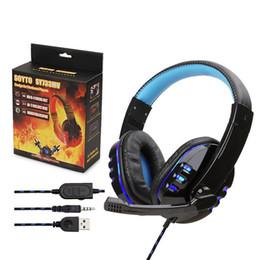 SY733 Oyun Kulaklık Stüdyo Bandı Stereo Gürültü Iptal Kulaklıklar Bilgisayar PC Gamer Için Işık Ile Mikrofon Kulaklık paketi ile nereden