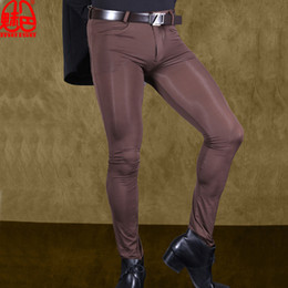 Шелковые колготки мужчины онлайн-Sexy Men Transparent Pants Ice Silk See Through Elastic Tight Trousers Silky Pencil Pants Erotic Lingerie Club Gay Wear F90