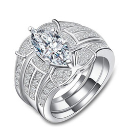 Configuración de montaje de diamante semi online-Envío libre rápido SONA anillo de compromiso de diamante sintético semi montaje 18 k oro blanco anillo de diamante de boda de doble capa de tres piezas conjunto de anillo