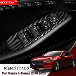 Etiqueta do painel da porta do carro on-line-Car Styling Interior de carro Janela da porta de elevação Panel Switch Covers guarnição Sequins Etiqueta Auto Acessórios Para 6 Atenza 2019 2020