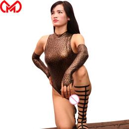tanga de piel sintética Rebajas MEISE Leopardo Body de corte alto T-Entrepierna Cuello alto de una pieza Traje de baño Tanga Faux Body de cuero Traje Tallas grandes Mujer F50
