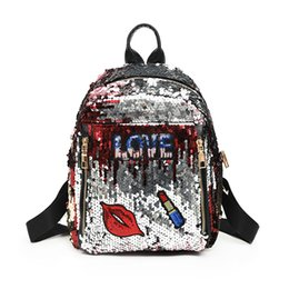 lipsticks day Promo Codes - Student Cartoon Sequin Backpack Back To School Girl Sequins Letter Love Red Lips Lipstick Star Stripe Zipper Mini Lady School Bag