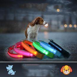 2019 guinzagli leggeri lampeggianti LED Dog Guinzaglio LED Cane Collare Pet Colourful Light Lampeggiante Collare luminoso Pet Supplies Glow Tag di sicurezza Riflettente Notte Sicurezza DH0177 guinzagli leggeri lampeggianti economici