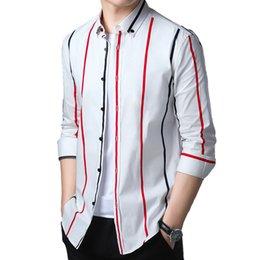 390c7f36bc 2019 Nueva moda de manga larga camisa a rayas para hombres Camisa casual de fácil  cuidado Cuello abotonado Ropa de marca social Algodón para hombres Camisa  ...