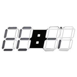TOP! -Grande design moderno Digital LED esqueleto relógio de parede temporizador 24/12 3D, preto de