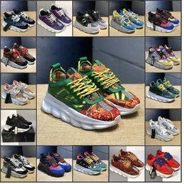 Zapatos de vestir de aire online-2020 Chain Reaction Mens Luxury Designer Shoes Women Casual Medusa Suede Air Black Dress Trainers Fashion Zapatos Sports Sneakers 36-45