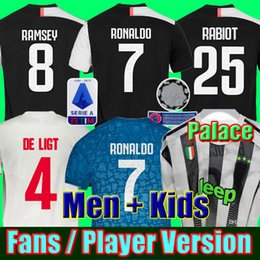 Jersey para niños ronaldo online-Versión para fanáticos y versión para jugadores Jerseys de fútbol RONALDO Juventus 4th Palace 2019 2020 DE LIGT 19 20 camiseta de fútbol JUVE RABIOT Men Kids Kit establece uniforme