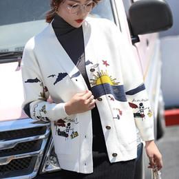 Peito feminino japonês on-line-Mulher Cardigan V-neck Knitting Sweater japonesa Mori menina manga comprida Único Breasted fêmeas Camisolas 2019 outono Roupa das senhoras