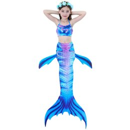 6cb1f9f8c148b Mermaid Tail Swimming Suit 3pcs Swimsuit Set Swimmable Bikini Swimwear Hot  Spring Bathing Suit for Kids Girl
