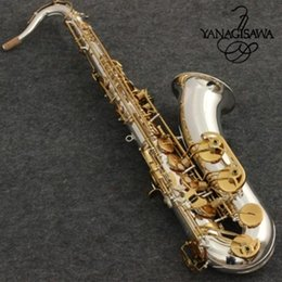 Saxofon de tubo online-Nuevo saxofón tenor yanagisawa T-9930 Instrumentos musicales Tono Bb Níquel Plateado Tubo de oro Clave de saxofón con estuche Boquilla