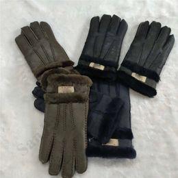Перчатки классические онлайн-UG Shearling овчины Перчатки Австралия Классический Шерсть Подкладка Мягкие теплые зимние перчатки для женщин Мужчины Спорт перчатки руно меховые рукавицы C101802