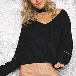 Новые стильные свитера онлайн-New Arrival Women Autumn and Winter new Hanging Neck V neck Stylish Sleeves Zipper Hedging Fashion Sweater