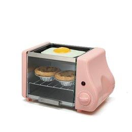 Puertas de vidrio de acero online-220V 1.5L 220w Mini máquina de desayuno horno eléctrico Asado Control de sincronización Puerta de vidrio a prueba de explosiones tubo de calefacción de acero inoxidable