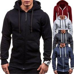 Толстовка с капюшоном онлайн-Плюс размер Мужские толстовки спортивный костюм Осень Зима шнурок карман с капюшоном толстовка с длинным рукавом Zip тонкий пальто мужской пиджак