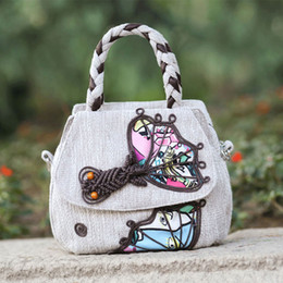 knitted handbags patterns Coupons - Fashion National Women Linen Flap Handbag Embroidery Women Bag Casual Protable Female Knitting Goldfish Pattern Shoulder Bag SAC