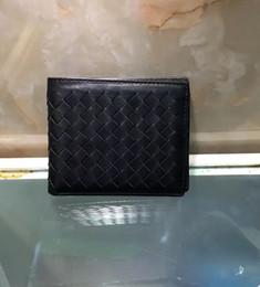 bio box all'ingrosso Sconti Portadocumenti bi-fold portafoglio uomo in pelle designer all'ingrosso 6 nero caffè blu morbido in pelle morbida intrecciata a mano borsa regalo