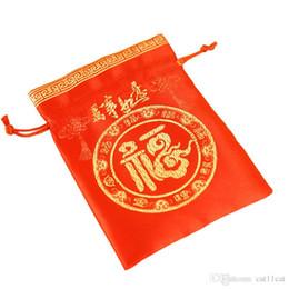 Weihnachten glückliche taschen online-Seidenverpackungen Taschen für Schmuck Aufbewahrungsbox Chinesischen Glücklichen Kordelzug Weihnachten Hochzeit Party Favor Beutel Gold Süßigkeiten Geschenk Taschen