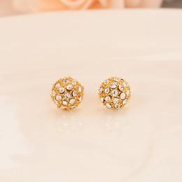 Orecchini placcato oro 24k con diamanti a sfera rotonda set dubai Indiano orecchini gioielli da sposa palla regali ricordo fidanzamento matrimonio da monili indiani placcati in oro 24k fornitori