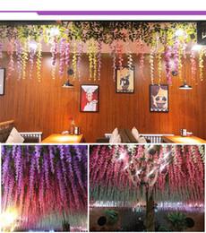 piante artificiali da giardino pendenti Sconti Rosequeen Wedding Decor Seta Artificiale Fiore Vines Fiore appeso Rattan Sposa fiori Ghirlanda Per Casa Giardino Hotel Simulato Piante