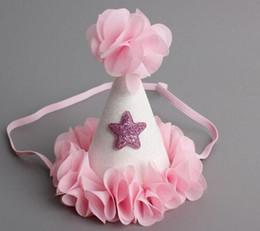 Kronen rosa tiaras online-Kind-Mädchen-Weihnachtsfest-Haar-Bänder-Babyparty-Geburtstags-Kegel-Hut Prinzessin Crown Chiffon Blumen-Stern-Tiara-Stirnband