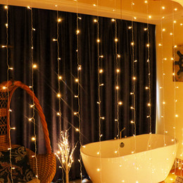 grandi luci a batteria Sconti 6M X 2M 384 LED Curtain Icicle Fairy String Lights, con, 8 modalità per Wedding Party Famiglia Patio Decorazione Prato UE / USA / UK / AU
