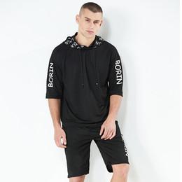 Vestes de costume à manches courtes hommes en Ligne-Le nouveau costume décontracté d'été pour hommes propose un sweat à capuche imprimé à manches courtes et une veste de jogging ample pour hommes