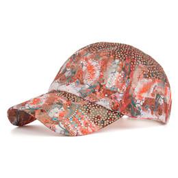 Cappuccio gril online-Moda del fiore caldo Trapani berretto da baseball netto Cap Donne Schermatura solare Cappello Gril