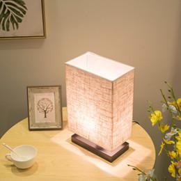chiaro candelabri matrimonio Sconti Moderna lampada da tavolo rettangolare minimalista in massello di legno camera da letto comodino luci a LED regolazioni USA lampada da tavolo studio caldo