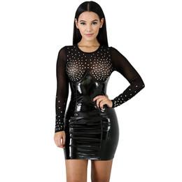 Leder sexy langes kleid online-Art und Weise der neuen Frauen reizvolles Rhinestone-durchsichtiges Kleidlatexlederrock-Nachtkleidlange Hülsendame bodycon reizvolles Vereinkleid