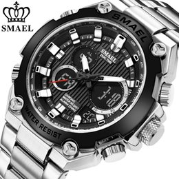 mens military army watch Promo Codes - SMAEL Brand Men Military Sport Watches Mens LED Analog Digital Watch Male Army Stainless Steel Quartz Clock Relogio Masculino