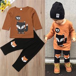 peças de raposa Desconto New kids roupas roupas manga longa dos desenhos animados fox impresso tops + calças pretas 2 peças set crianças roupas de grife meninas JY576