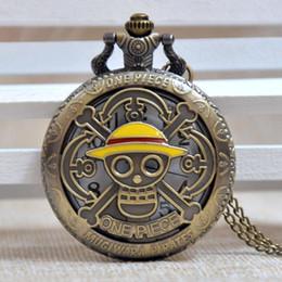 Gelbe taschenuhr online-Mode One Piece Schädel Pirate Yellow Hat Bronze Quarz Taschenuhr Analog Anhänger Halskette Mens Womens Geschenke Reloj Montre