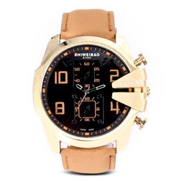 2019 montre résistant à l'eau froide SHIWEIBAO jeunes hommes hommes cool analogiques montres-bracelets à quartz résistant à la personnalité résistante montre en cuir véritable montre résistant à l'eau froide pas cher
