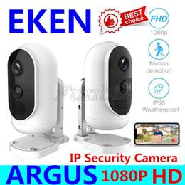 2019 cámaras de control de sonido EKEN Argus IP de WiFi de la cámara de la batería recargable Desarrollado exterior de seguridad de interior 140 ° ángulo de visión amplio 1080P Full HD de vídeo de la cámara 2pcs