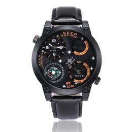 2019 temporizador de calidad Relojes deportivos de los hombres a estrenar moda brújula PU correa de cuero relojes de pulsera de alta calidad dos temporizadores de cuarzo relojes al por mayor LW041 temporizador de calidad baratos