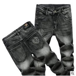 jean gris Promotion Styliste de mode Streetwear Jeans Hip Hop Automne et hiver jeans épais pour hommes gros coton stretch droit Jeans Gris