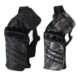 Bogenschießen pfeil zubehör online-Archery Black Tube Pfeilhalter Tragbarer Rückengurt Jagdtasche Zubehör # 369173