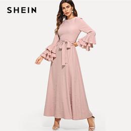 Abito abbellito perla online-SHEIN rosa elegante perla minimalista impreziosito stratificato volant trim balze manica cinture abito autunno donne abiti minimalista
