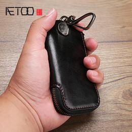 AETOO Erkek ve kadın deri fermuar anahtar Baotou katmanlı dana büyük kapasiteli araba uzaktan kumanda erişim kartı anahtar paketi cheap remote access control nereden uzaktan erişim kontrolü tedarikçiler