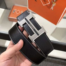 f6533b291733 Hot sale Designer Belts Men High Quality Leather Mens Belt Luxury genuine  leather Smooth buckle Belts For men s trousers belt 125cm golden trousers  on sale