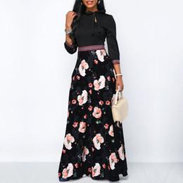 Vestido largo de estilo elegante de las mujeres maxi vestidos largos de Bohemia cuello hueco de manga tres cuartos estampado floral playa étnica del verano femenino desde fabricantes