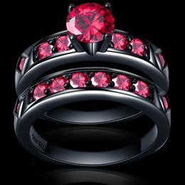 Anillo rojo brillante rojo granate mujer joyería de la boda hermosa conjunto de anillo de oro negro pareja Bijoux hombre femenino desde fabricantes